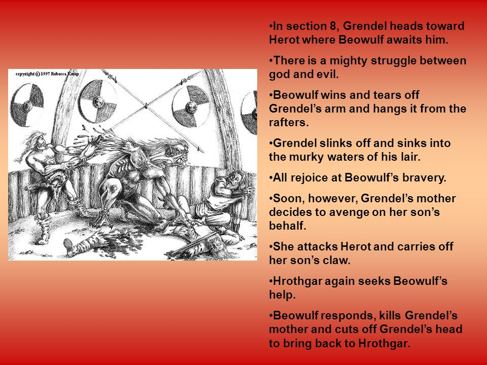 grendels mothers attack essay After grendel is killed, grendel's mother attacks heorot in revenge beowulf then ventures into her cave under a lake, and engages in fierce combat with grendel's mother she nearly kills him until he sees an ancient sword, in which he kills her with, and beheads the dead grendel  doreen me gillam's 1961 essay,.