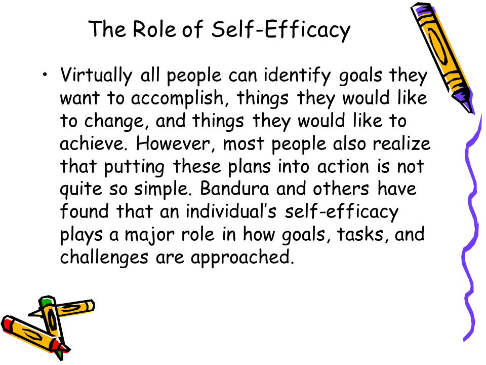 self efficacy and its role in the The present article examines the role of one type of personal cognition—perceived self-efficacy—during classroom learning of cognitive skills the central idea is that self-efficacy is an important variable in.