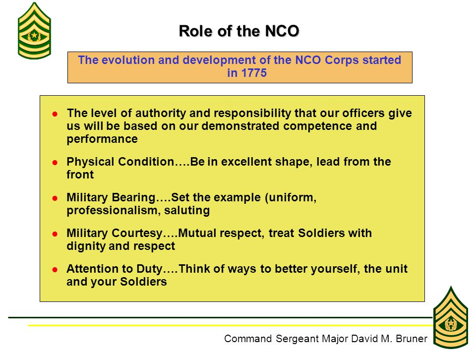 army nco accountability and responsibility Responsibility and accountability excellence success needs improvement: army ncoer examples for the rater: rater examples senior rater values competence physical fitness & military bearing leadership training responsibility & accountability other ncoer bullets custom search my da forms.