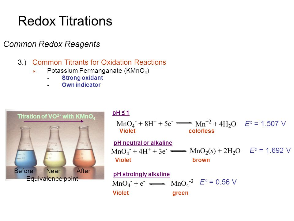oxidation titration Redox titrations introduction 1) redox titration based on an oxidation- reduction reaction between analyte and titrant many common analytes in  chemistry,.