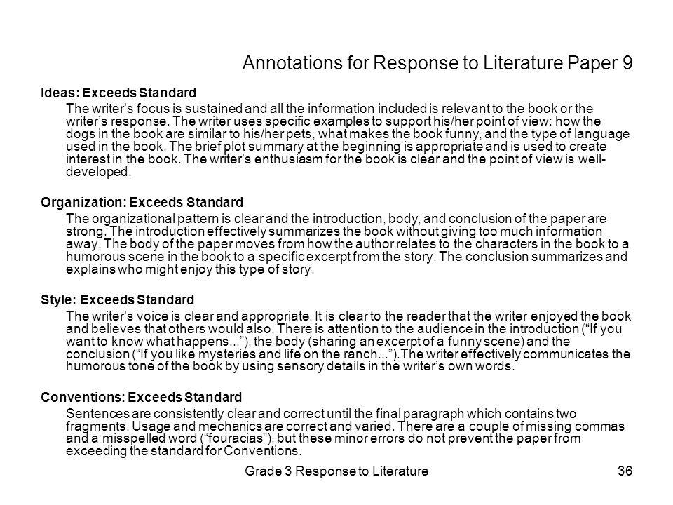 response to literature essay