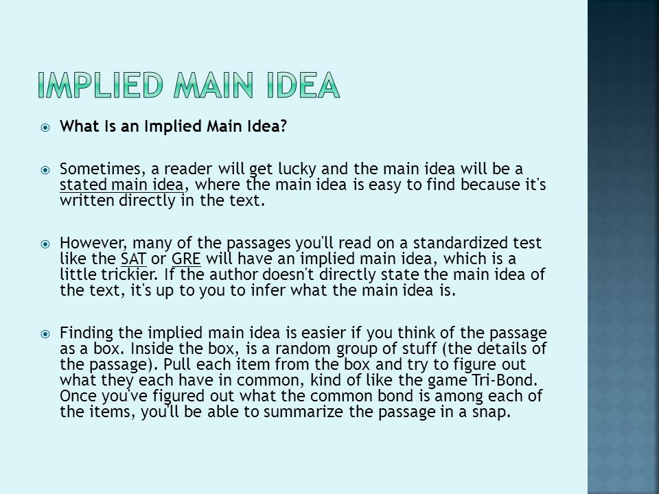 literacy Skills Across the curriculum ppt video online download – Implied Main Idea Worksheet