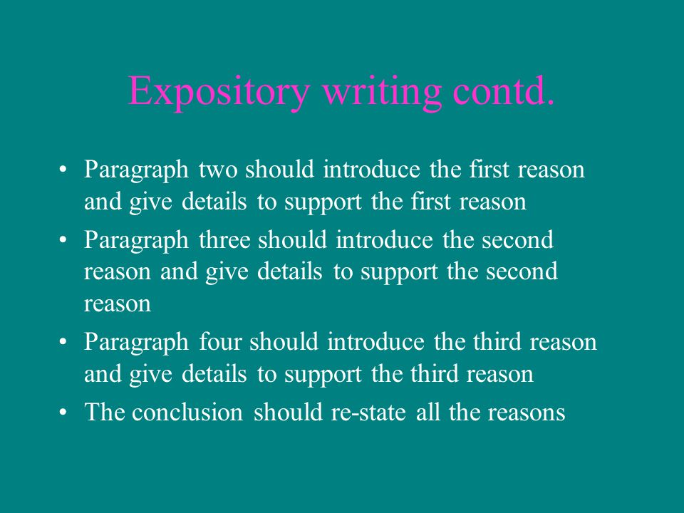 Expository writing contd.