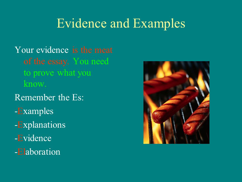 Evidence and Examples Your evidence is the meat of the essay. You need to prove what you know. Remember the Es: