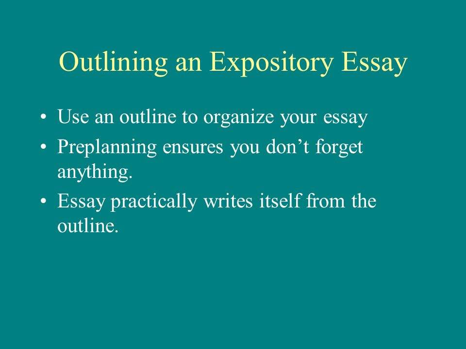 Outlining an Expository Essay