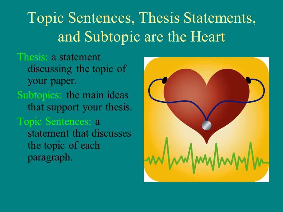 Topic Sentences, Thesis Statements, and Subtopic are the Heart