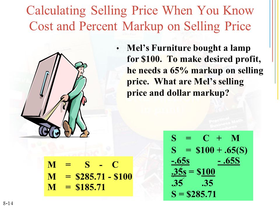 Calculating Selling Price When You Know Cost And Percent Markup On Selling  Price