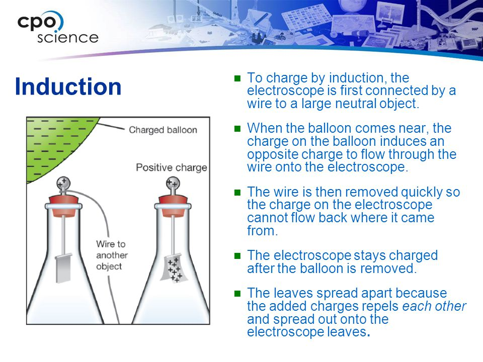 Induction To charge by induction, the electroscope is first connected by a wire to a large neutral object.