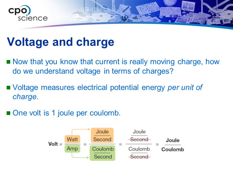 Voltage and charge Now that you know that current is really moving charge, how do we understand voltage in terms of charges