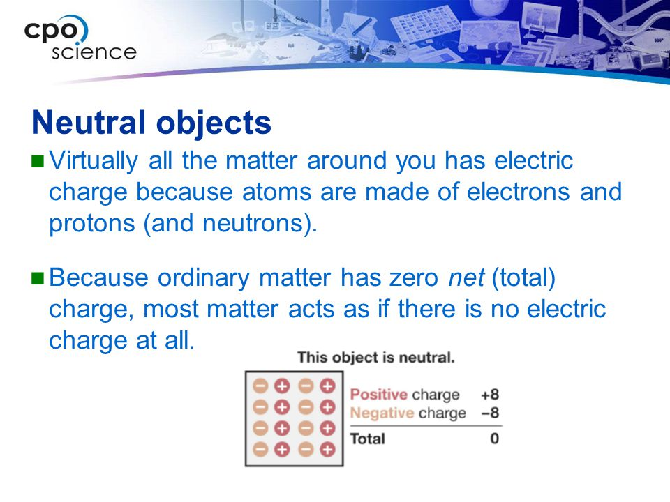Neutral objects Virtually all the matter around you has electric charge because atoms are made of electrons and protons (and neutrons).