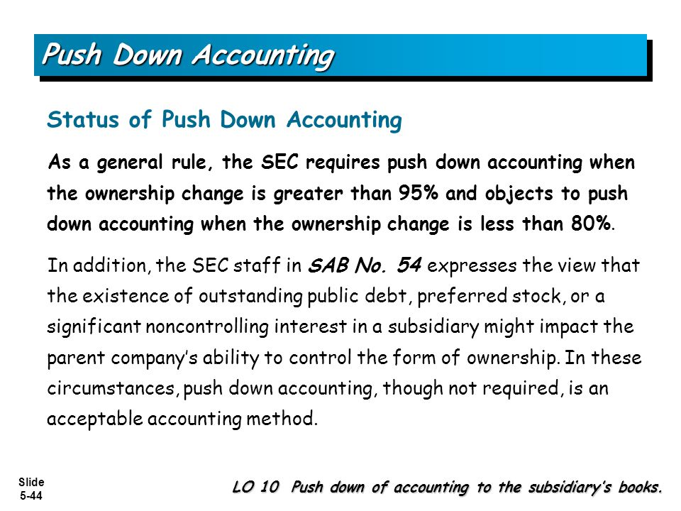 push down accounting Push down accounting potentially imposes dramatic changes to the acquiree's  separate financial statements from the reporting entity's viewpoint, it is neces.