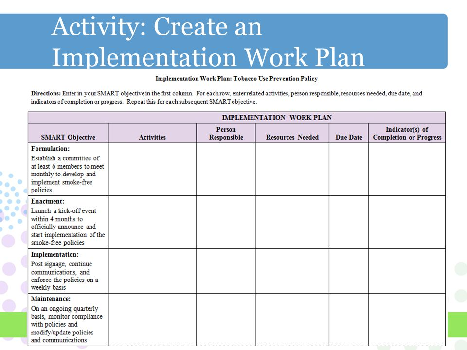 how to develop an implementation plan
