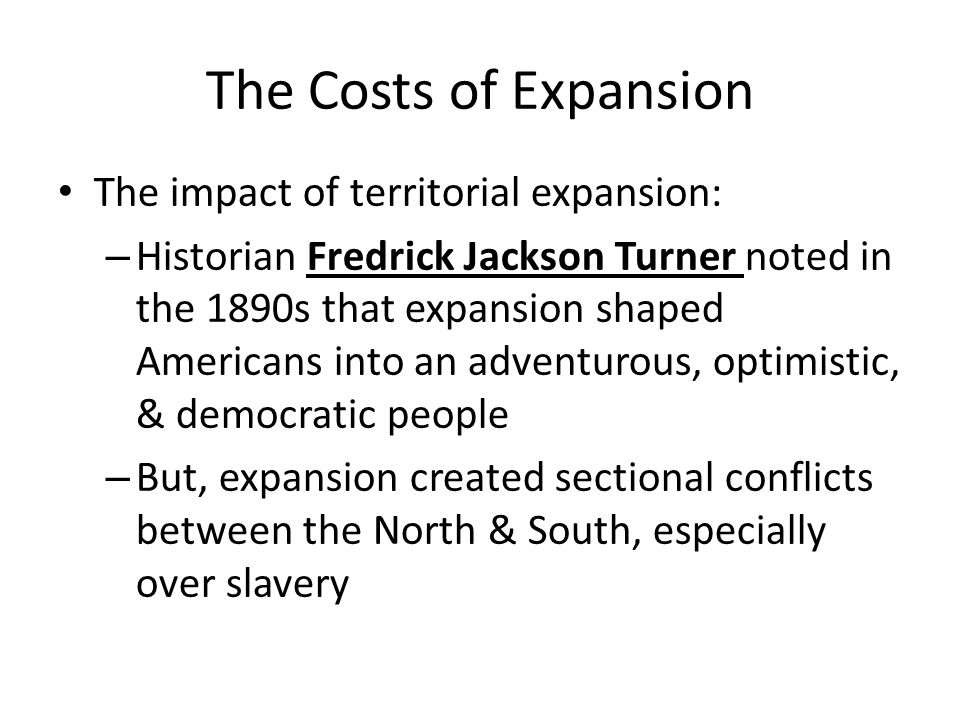 impact of territorial expansion between 1800 Territorial expansion boosted national unity between 1800 and 1823, but it degraded national unity between 1824 and 1850 the time period between 1819 and 1824 was the transitional period from unity to disunity, because national unity fluctuated in this time period.