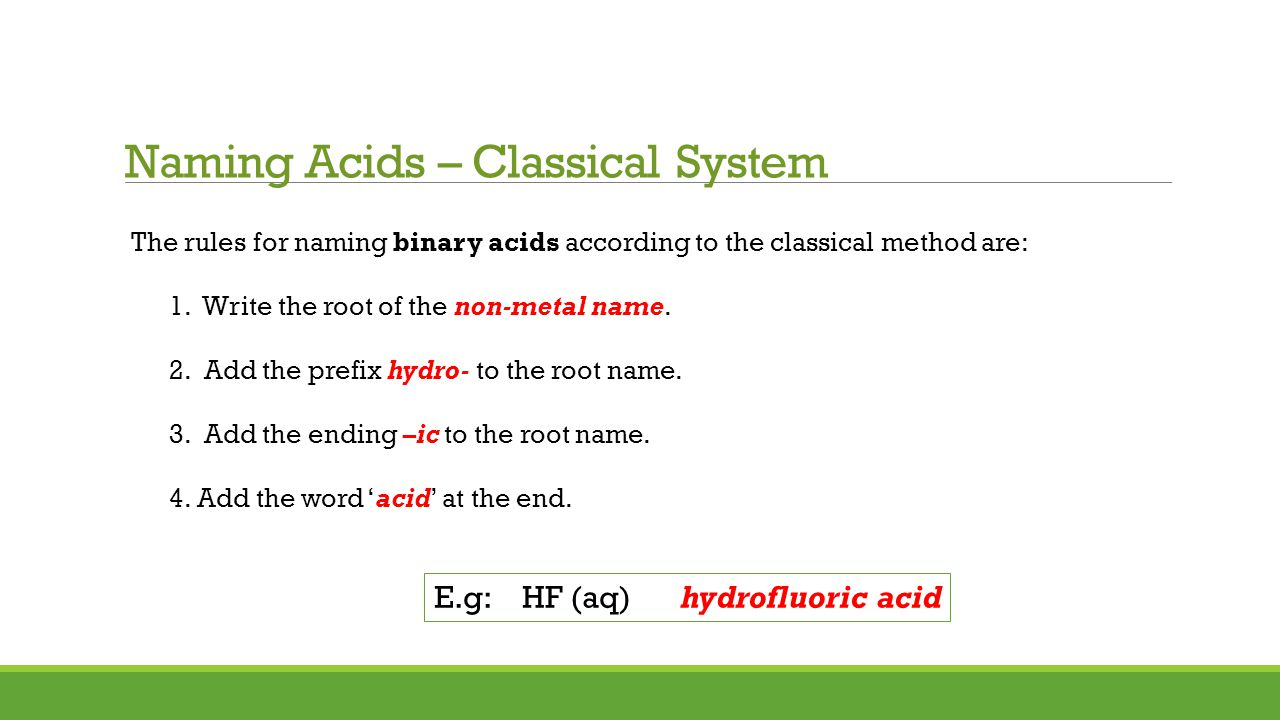 Acid Formulas Worksheet