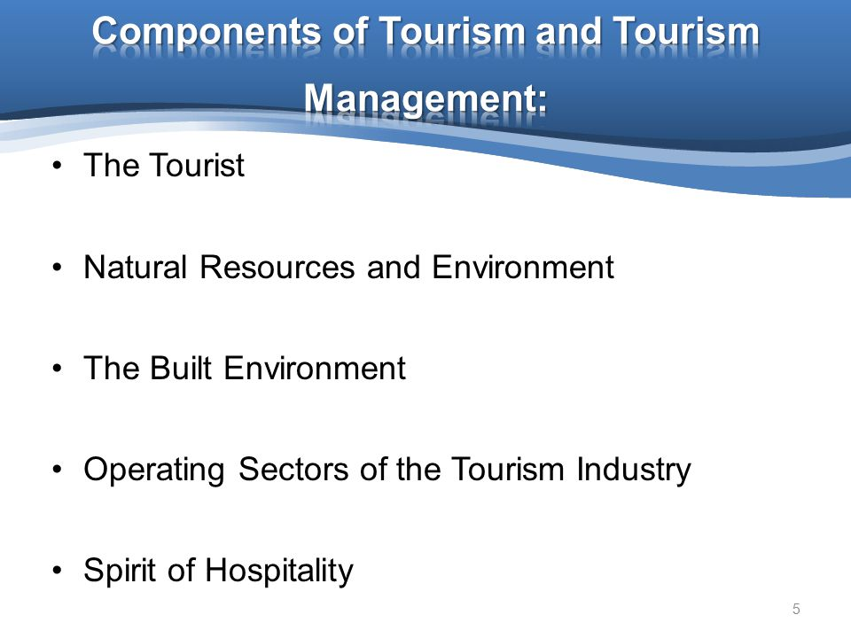 Components of Tourism and Tourism Management: