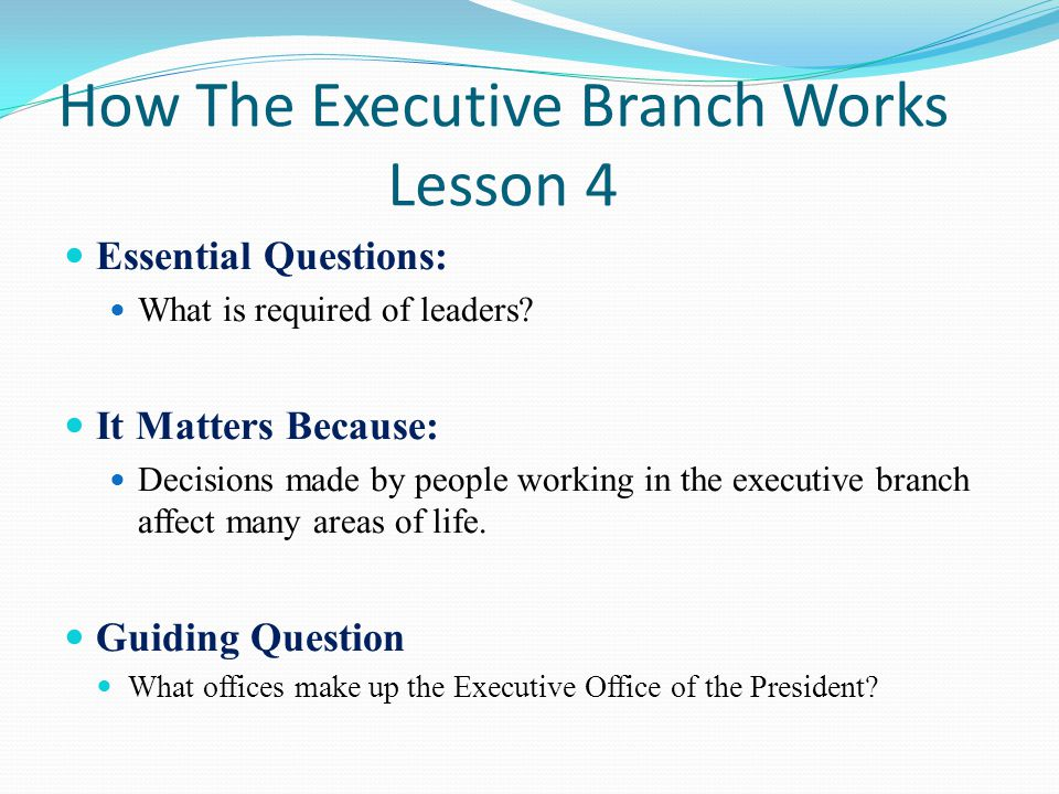executive branch essay questions Some of the short answer and essay questions on the two tests will be repeated on the exam studying old tests and quizzes will help with the multiple choice questions executive and judicial branch test.