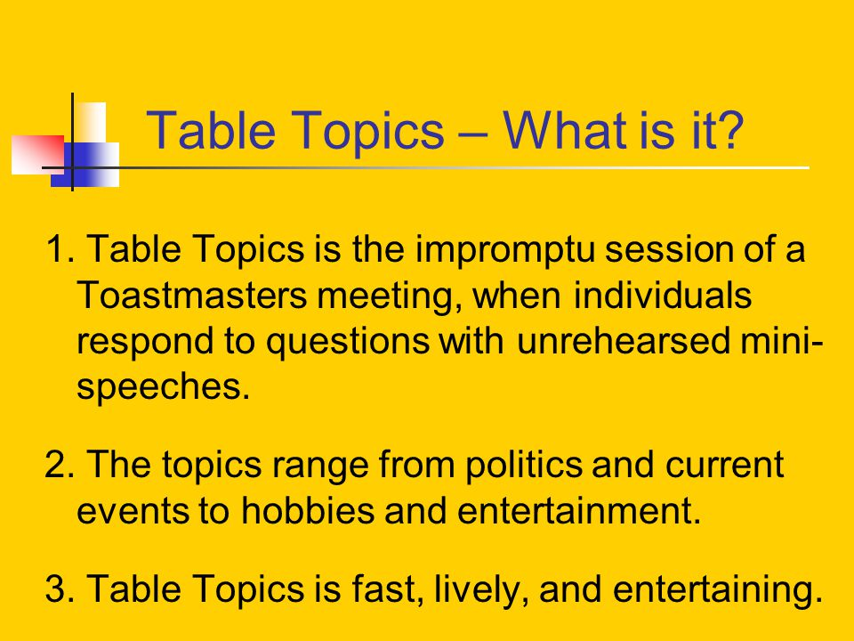 Prestige toastmasters club ppt download for Table questions