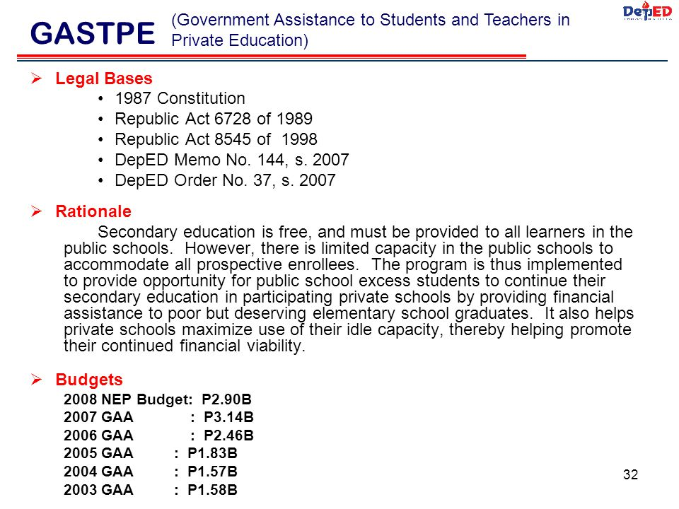 GASTPE (Government Assistance to Students and Teachers in