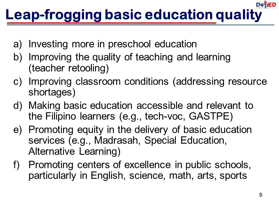 Leap-frogging basic education quality