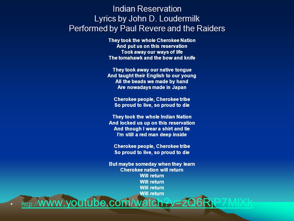 Indian Reservation (The Lament of the Cherokee Reservation ...