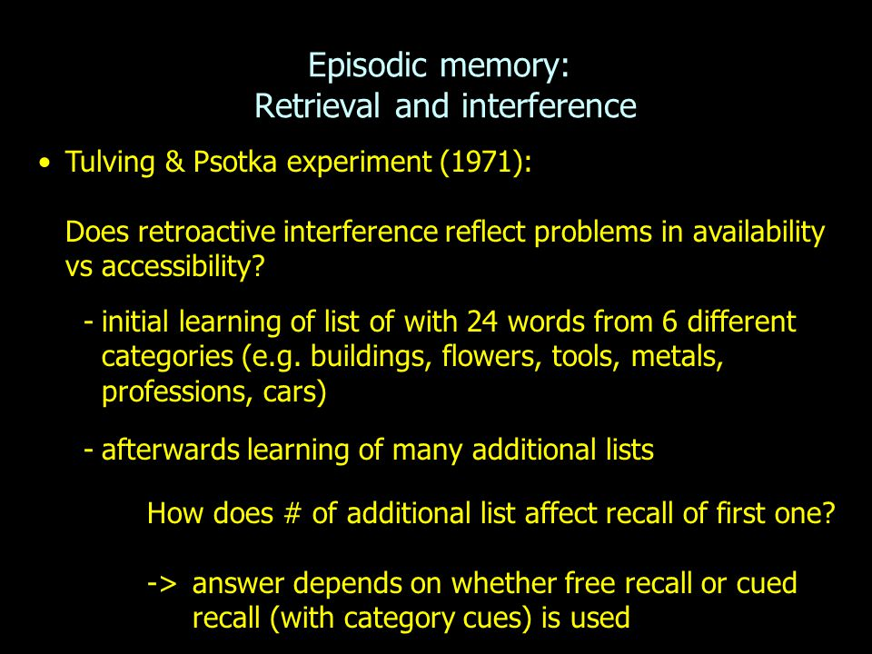 Episodic memory: Retrieval and interference
