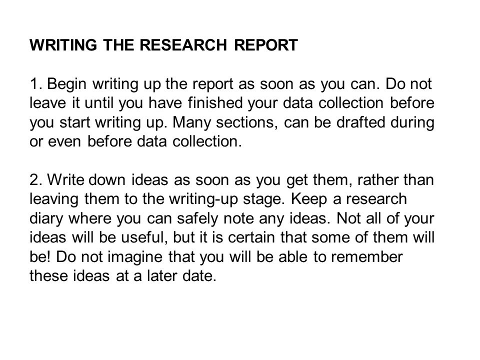 Write a research report