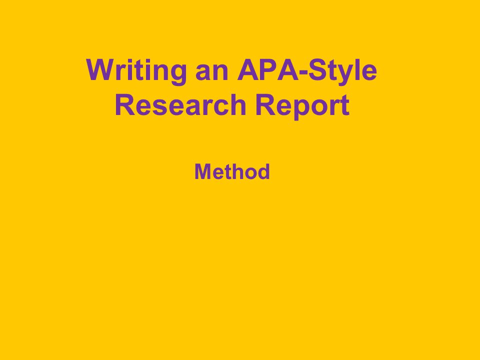 apa style research report