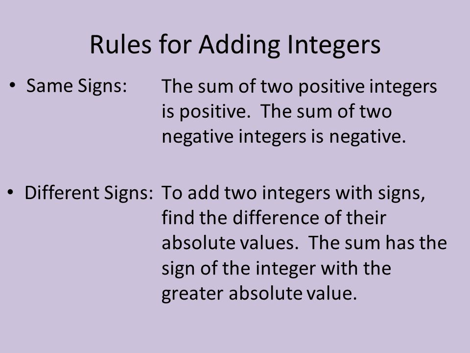 Rules for Adding Integers