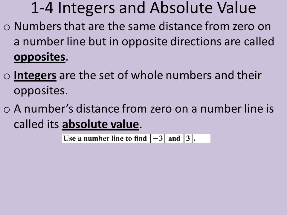 1-4 Integers and Absolute Value