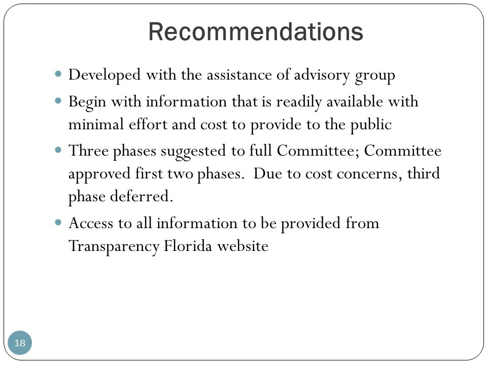 Recommendations Developed with the assistance of advisory group