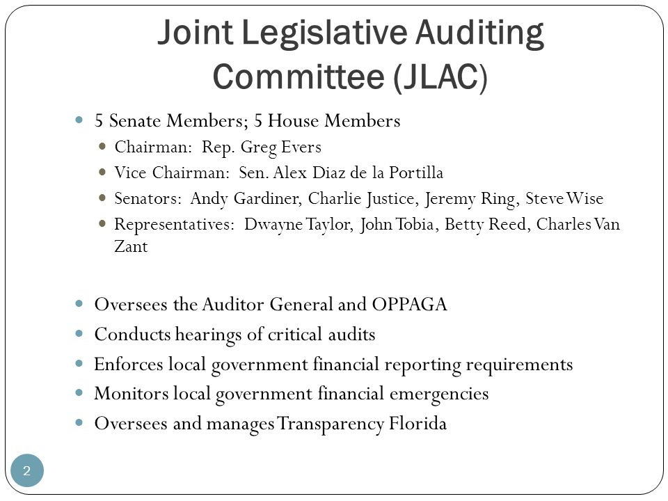 Joint Legislative Auditing Committee (JLAC)