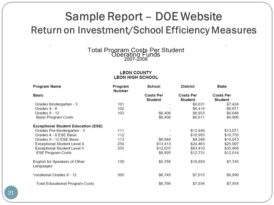 Sample Report – DOE Website Return on Investment/School Efficiency Measures