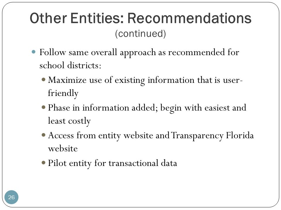 Other Entities: Recommendations (continued)