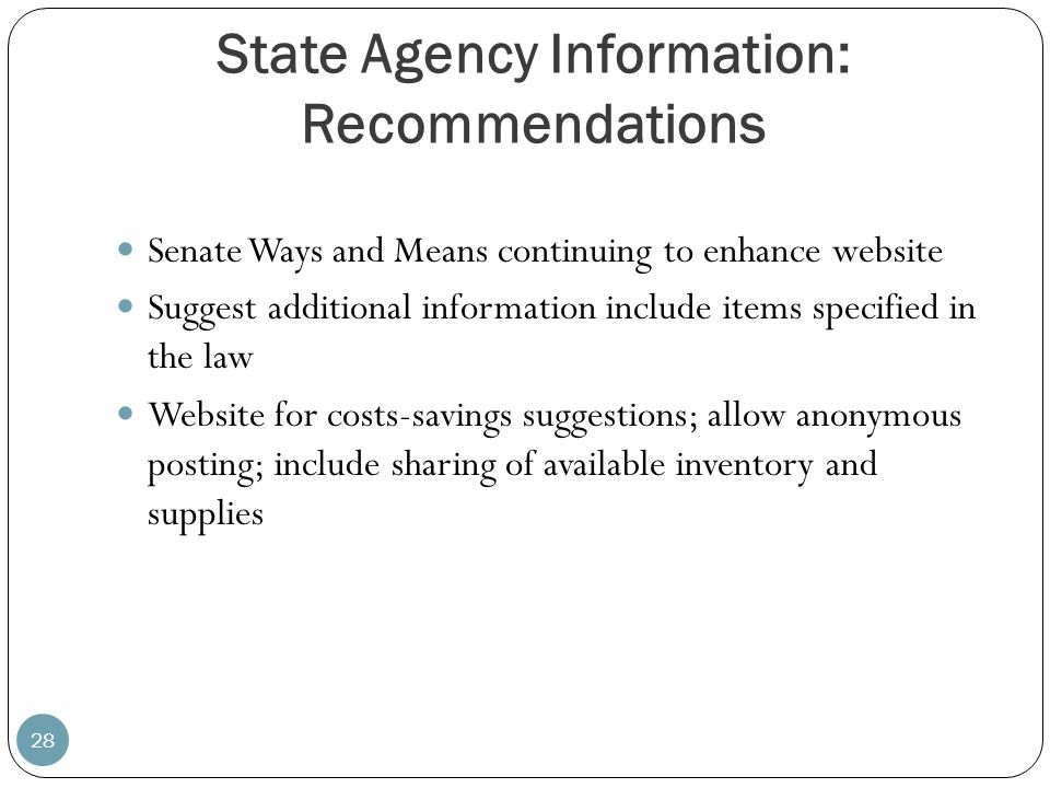 State Agency Information: Recommendations