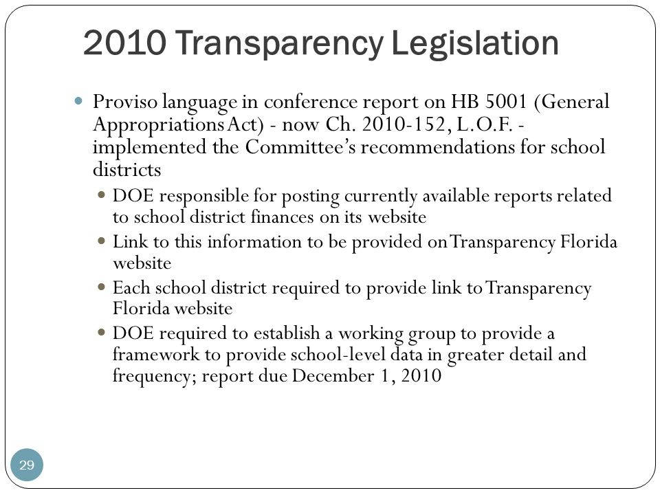 2010 Transparency Legislation