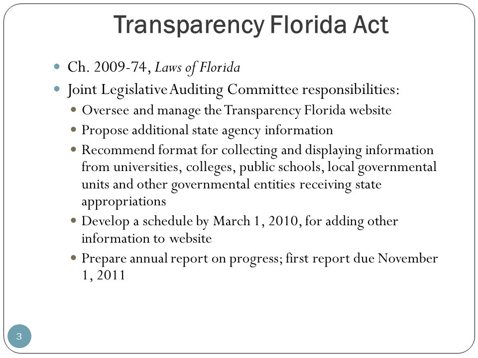 Transparency Florida Act