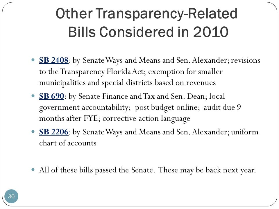 Other Transparency-Related Bills Considered in 2010