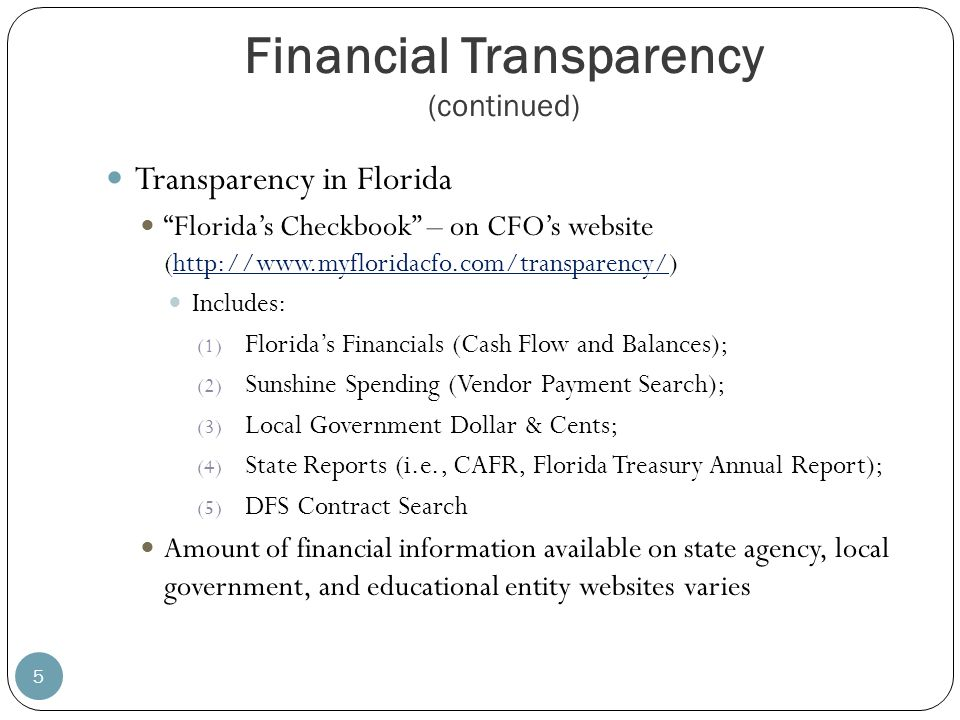 Financial Transparency (continued)