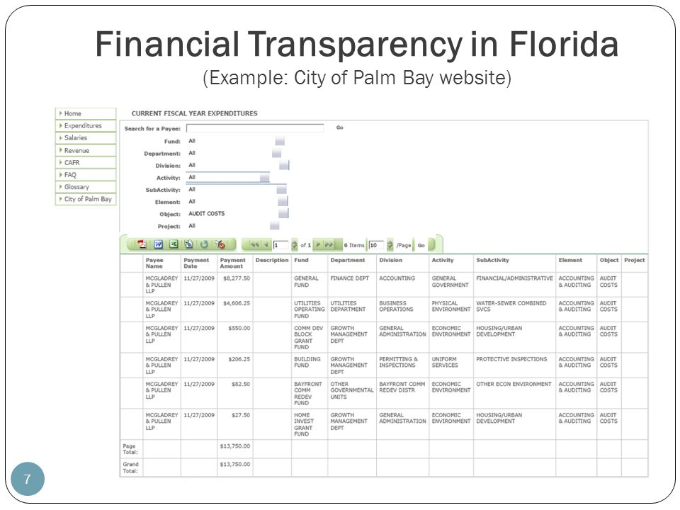 Financial Transparency in Florida (Example: City of Palm Bay website)