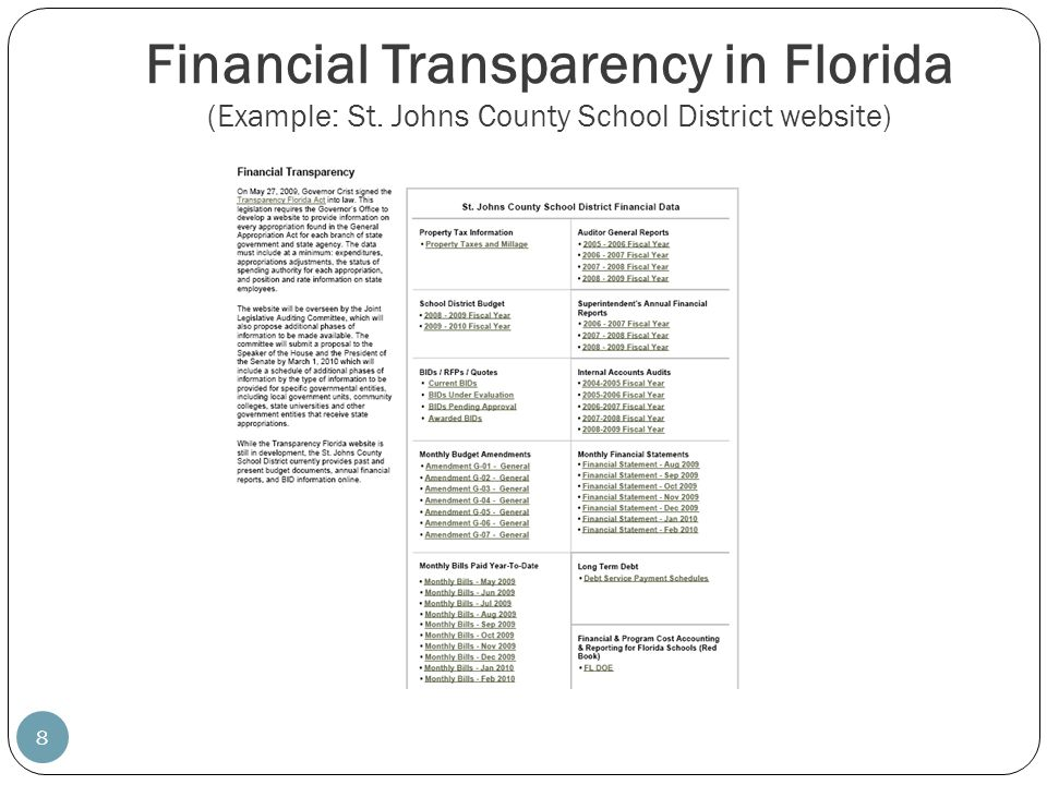 Financial Transparency in Florida (Example: St