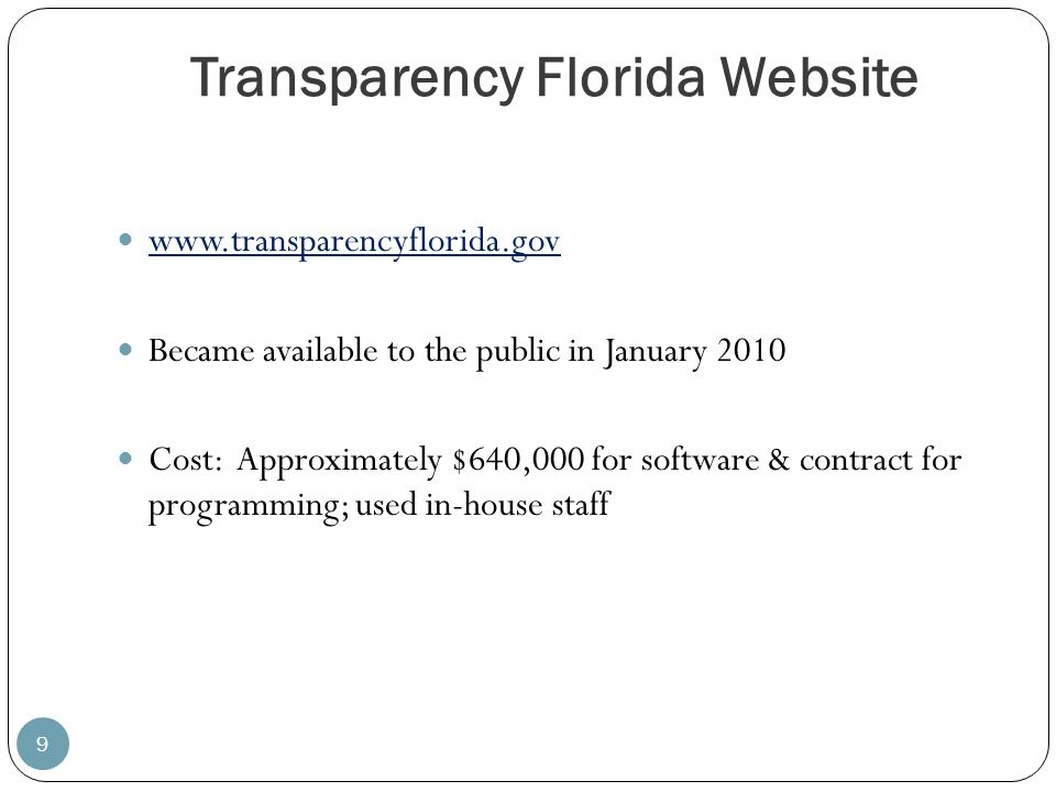 Transparency Florida Website
