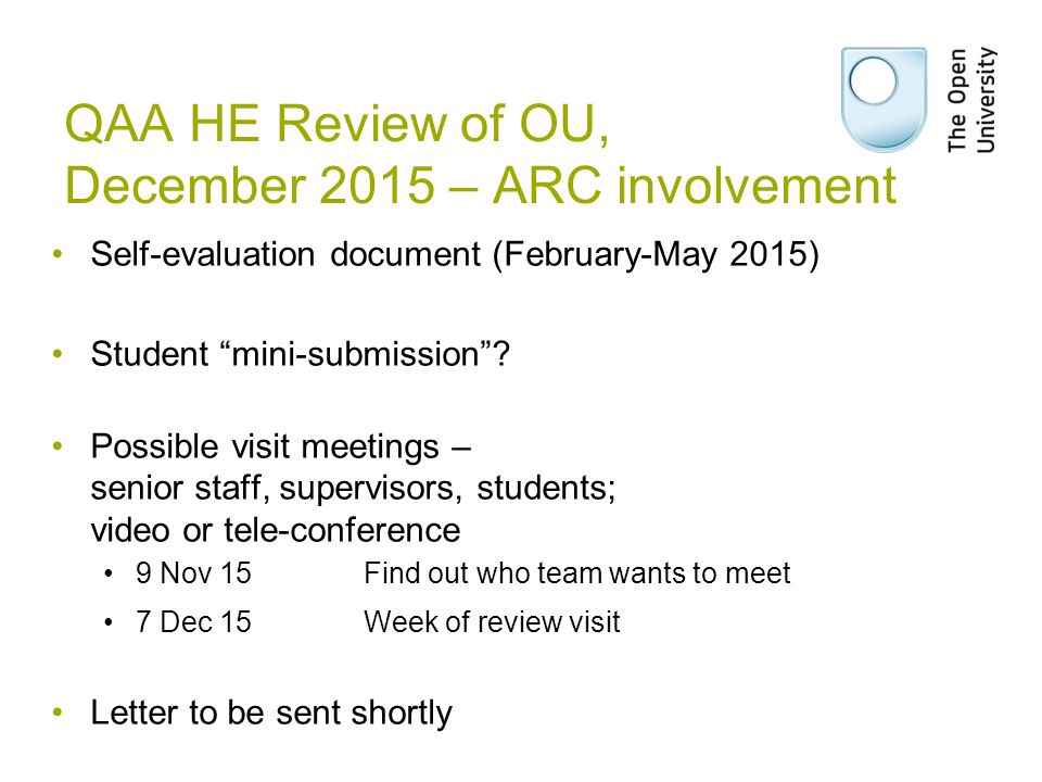 QAA HE Review of OU, December 2015 – ARC involvement