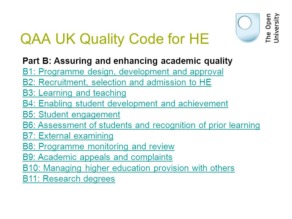 QAA UK Quality Code for HE