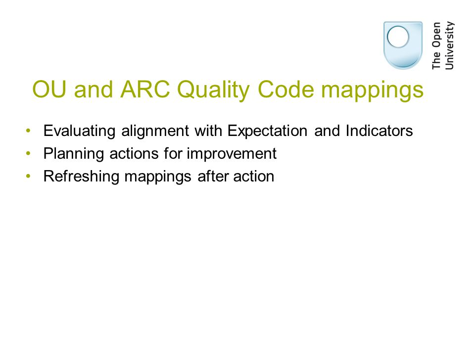 OU and ARC Quality Code mappings