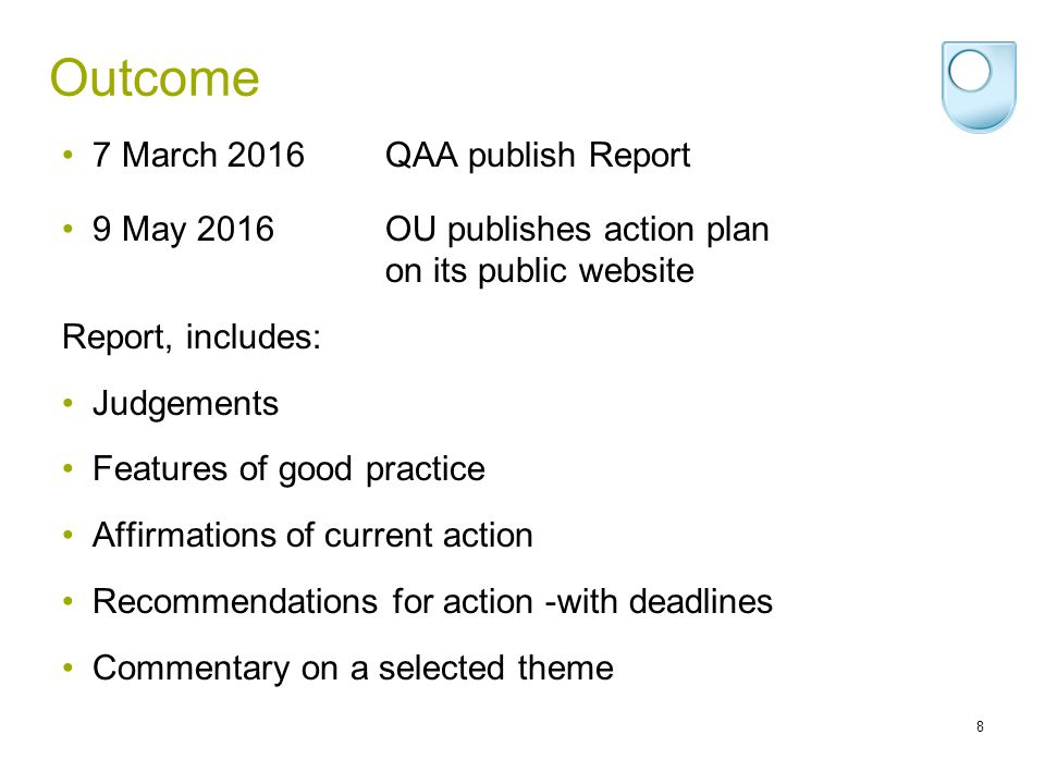 Outcome 7 March 2016 QAA publish Report
