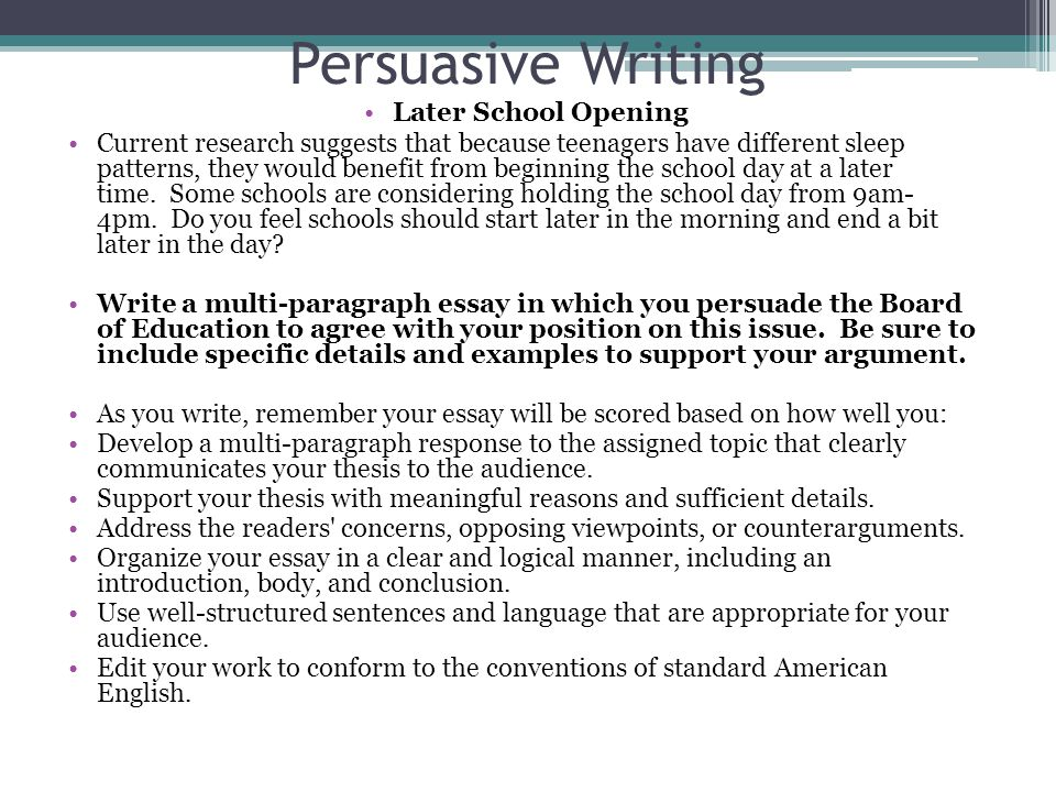 unit writing format persuasive writing ppt video online  11 persuasive writing later school opening