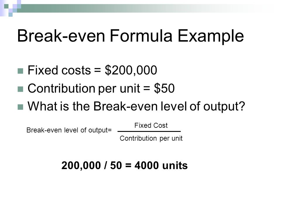 break even analysis example pdf