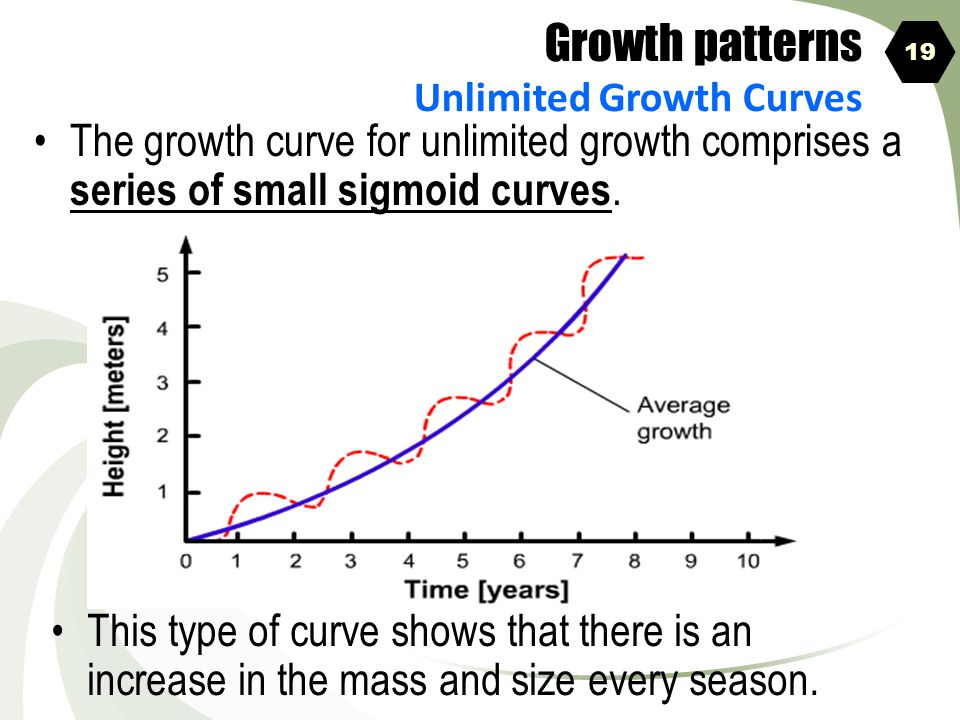 Growth patterns Unlimited Growth Curves. 19. The growth curve for unlimited growth comprises a series of small sigmoid curves.