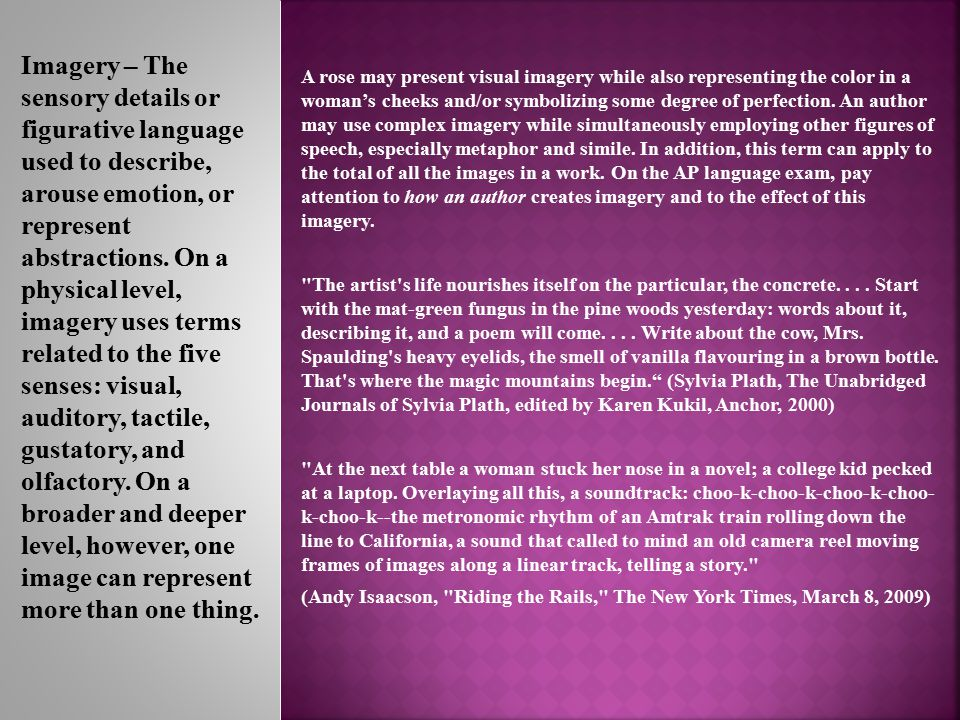 visual imagery speech It is especially important in speech and verbal text [and] is basic to any kind  of  why then should teachers ignore the imagery in a body of literature that is   learn is by using images, such as visual connections and sound associations.
