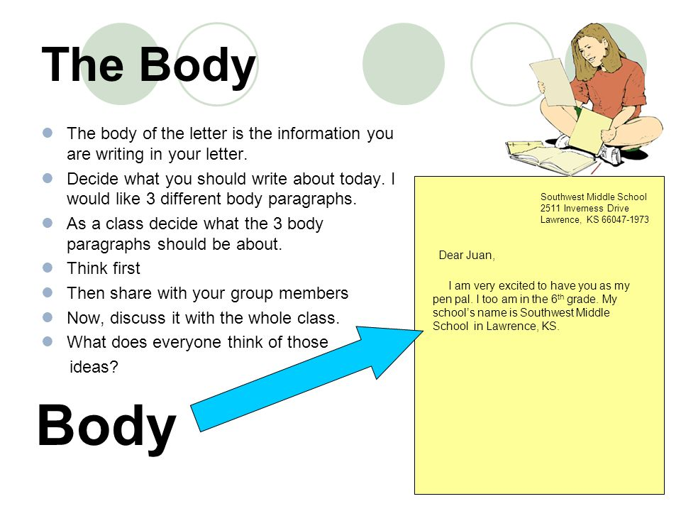 the body the body of the letter is the information you are writing in your letter - What To Write In A Letter